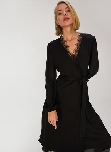 People By Fabrika Dantelli Kruvaze Elbise Siyah